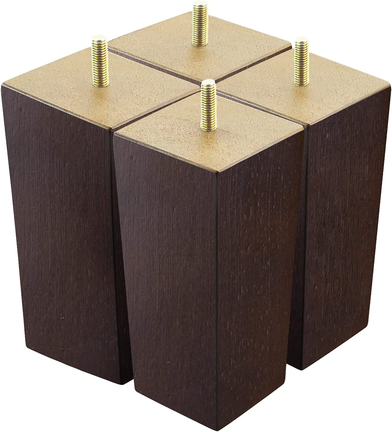 6 inch Couch Legs for Furniture Set of 4, Square Wood Furniture Sofa Legs Replacement for Furniture Feet,Coffee Table, Dresser, Cabinet, Bed,Mid Century Brown Color