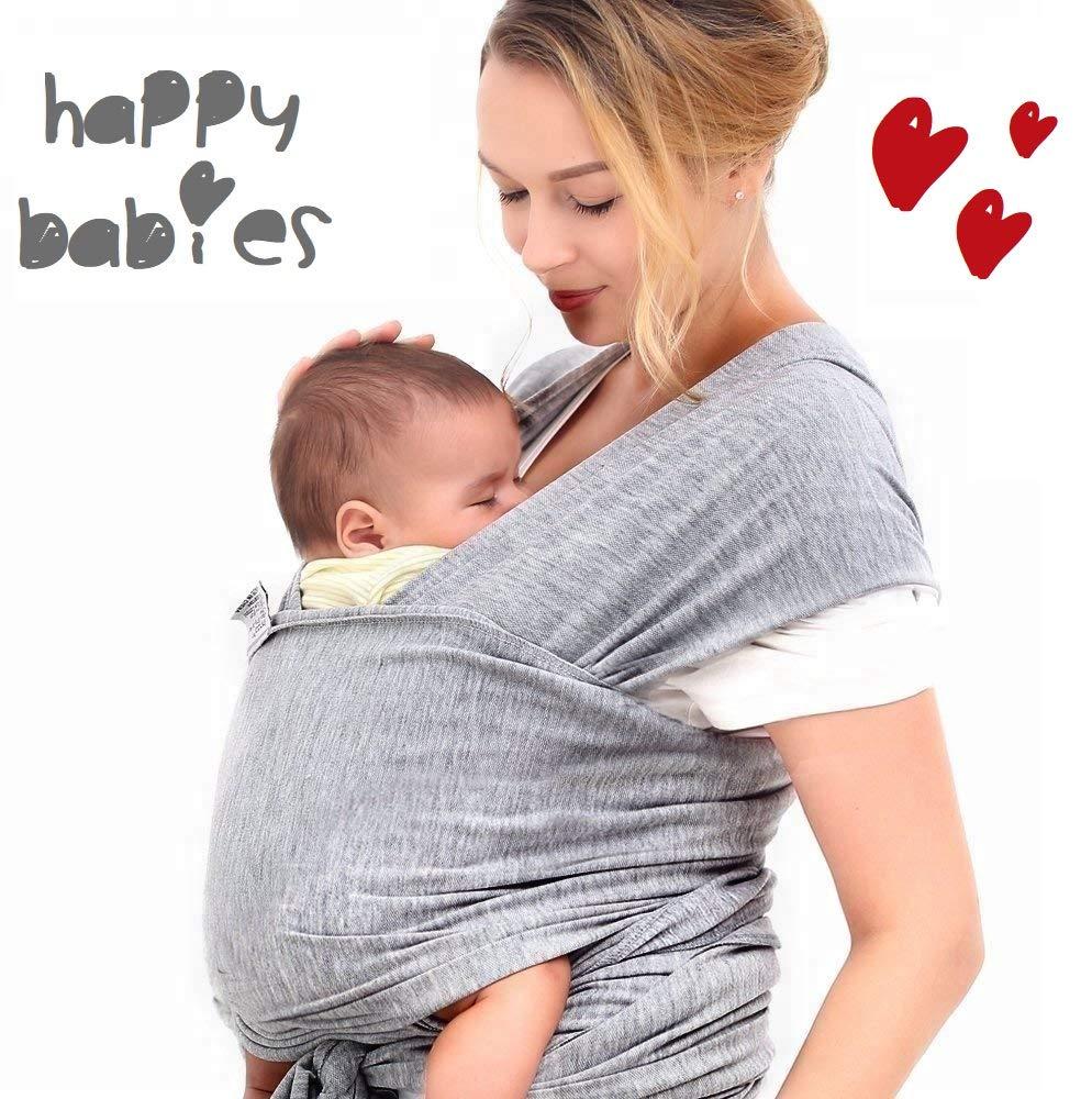 HAPPY BABIES - Écharpe de portage Porte-bébé élastique pour nouveau-né  jusqu à 23 kg en coton QUALITÉ SUPÉRIEURE 520 x 55 cm Doux confortable Sac  en tissu ... 9e5aaed2305