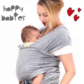 f6a2d69ea9e HAPPY BABIES - Écharpe de portage Porte-bébé élastique pour nouveau-né  jusqu