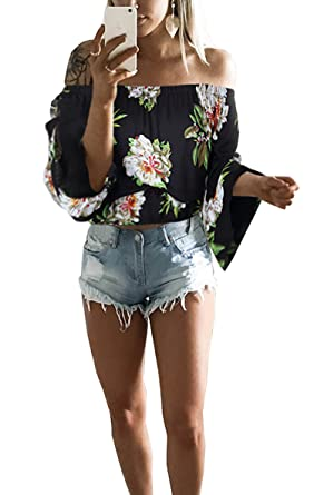 59c164b8e2c5d8 Hibluco Women's Fashion Off Shoulder Tops Sexy Floral Print Crop Tops  (Small, Black)