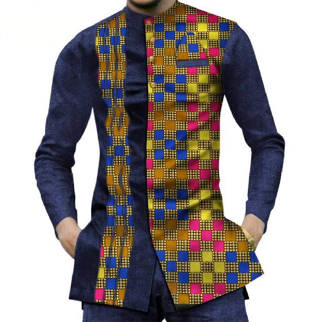 YUNY Men African Style Stand Collar Long Sleeve Patchwork Tops Shirts 7 XL