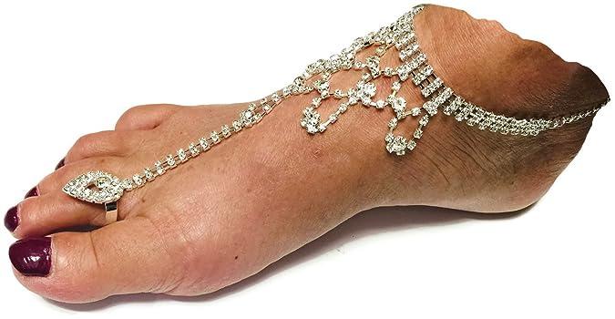 14613ffe1 Amazon.com  1 Pr Barefoot Sandal Diamond Bling Beach Wedding Bride Ankle  Bracelet Toe Ring Foot Hand Jewelry  Jewelry