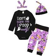 4Pcs Halloween Pumpkin Costume Outfit Set Baby Boys Girls Funny Romper (0-3 Months, Purple)