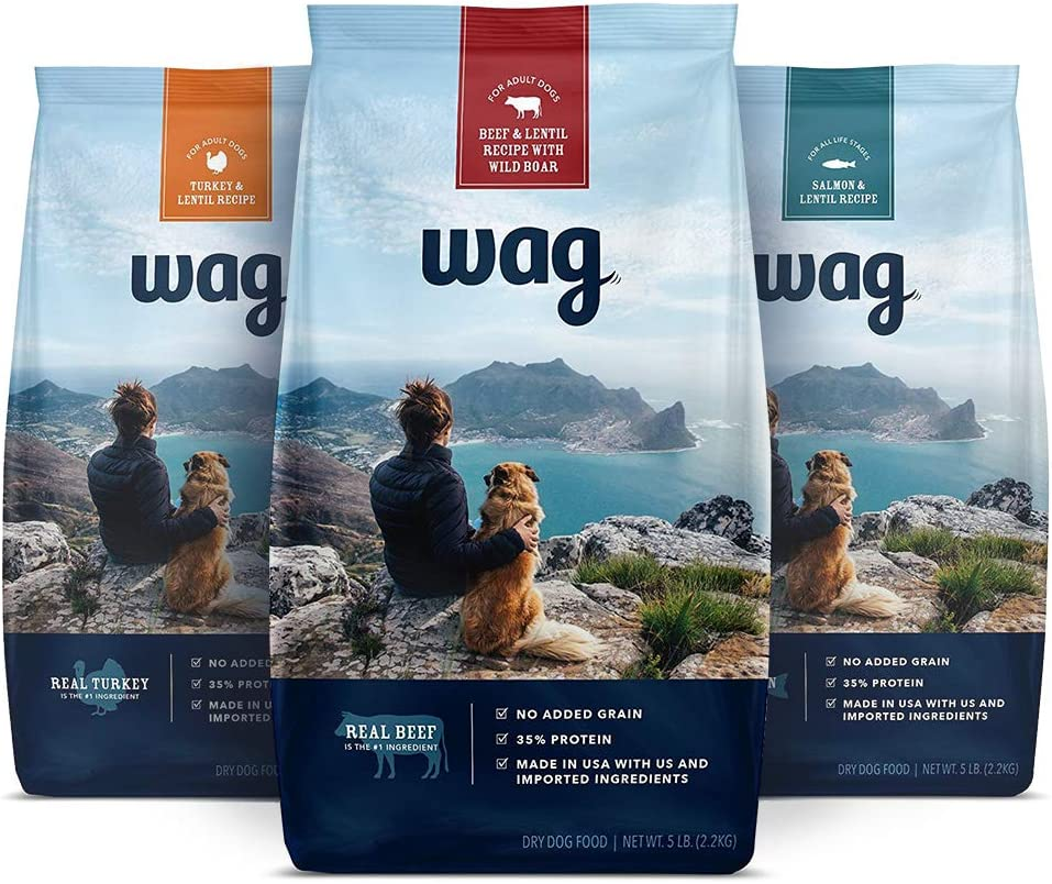 Wag Dry Dog Food Trial-Size Bag Multipack (Beef, Salmon, Turkey)