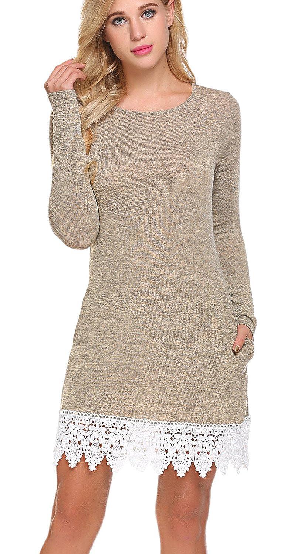 01beige Grey POGTMM Women's Casual Long Sleeve Aline Shift T Shirt Dress Lace Hem Knitted Sweater Dress