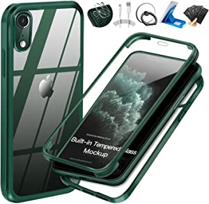 UBUNU iPhone XR Case with Built-in Tempered Glass Screen Protector, 360 Full Body Dual Layer Heavy Duty Rugged Silicone Rubber Bumper Protective Clear iPhone XR Cases 6.1 inch - Green
