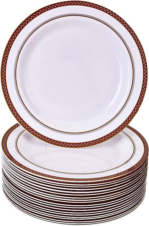 20 platos grandes| Platos de pl/ástico resistente Para bodas y comidas de lujo VAJILLA PARA FIESTAS DESECHABLE DE 20 PIEZAS Elegante aspecto de porcelana fina Dots - Negro//Blanco | 26 cm
