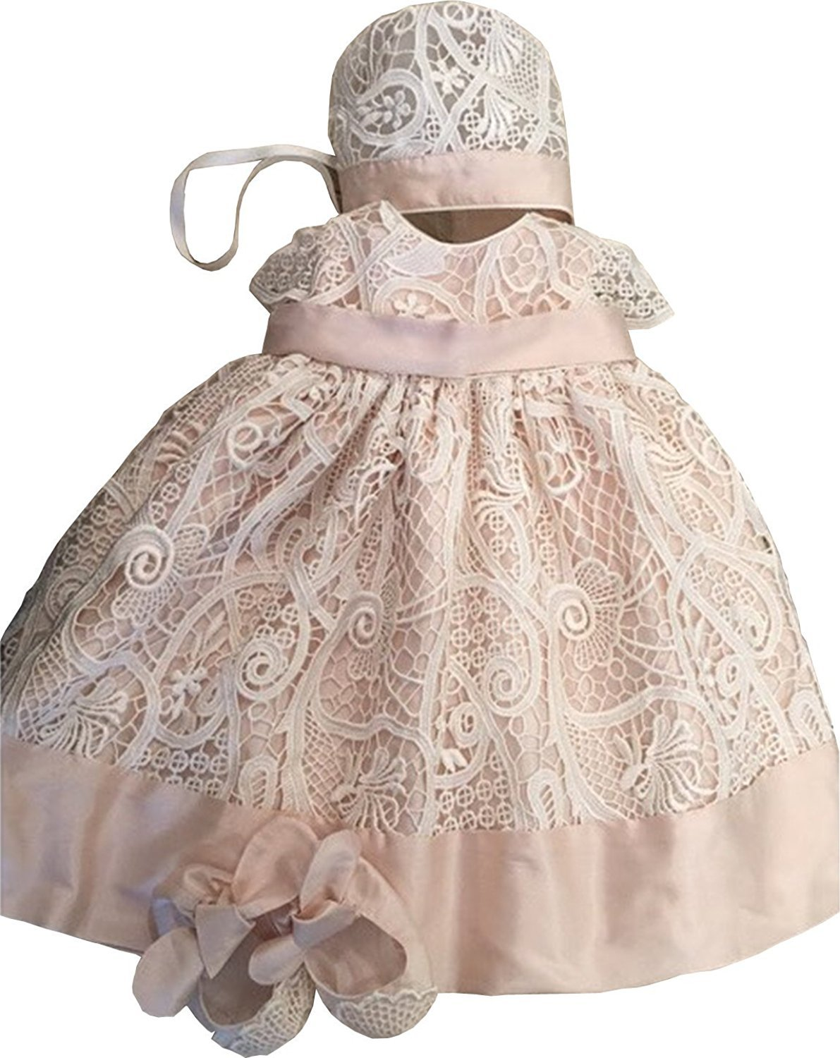 Banfvting Lace Baby-girls Champagne Ivory Pink Christening Dresses with Bonnet