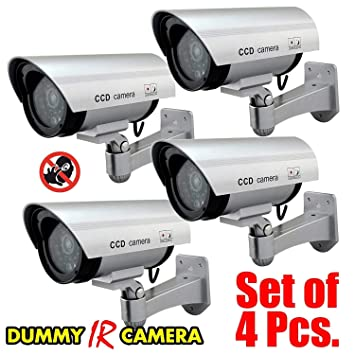 PICKVILL 4Pcs Realistic Looking Dummy Security CCTV Fake Bullet Camera with Flashing LED Light Indication, Dummy Camera for Home, Dummy CCTV Camera, Dummy Camera Security for Home