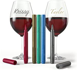 Wine Glass Markers - Pack of 5 Wine Glass Marker Pens Metallic Colors Best Wine Charms Alternative - Fun Wine Accessories - No Smearing & Fast Drying