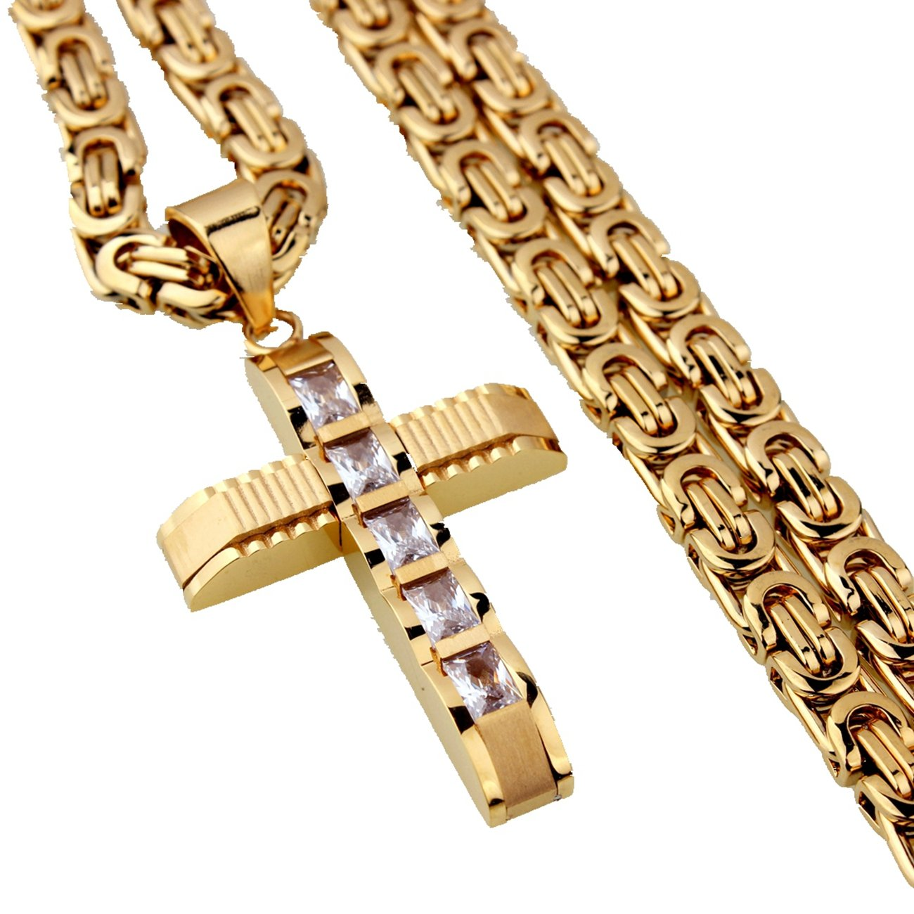 Stainless Steel Cross Pendant Mens Gold Tone Jewelry 6mm Byzantine Chain Necklace,20-34