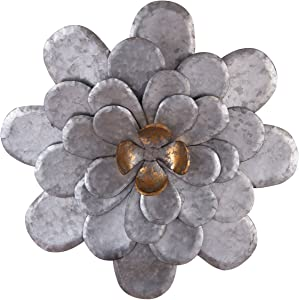 Foreside 17.25 inch Diameter Distressed Metal Layered Flower Wall Décor, Small, Silver