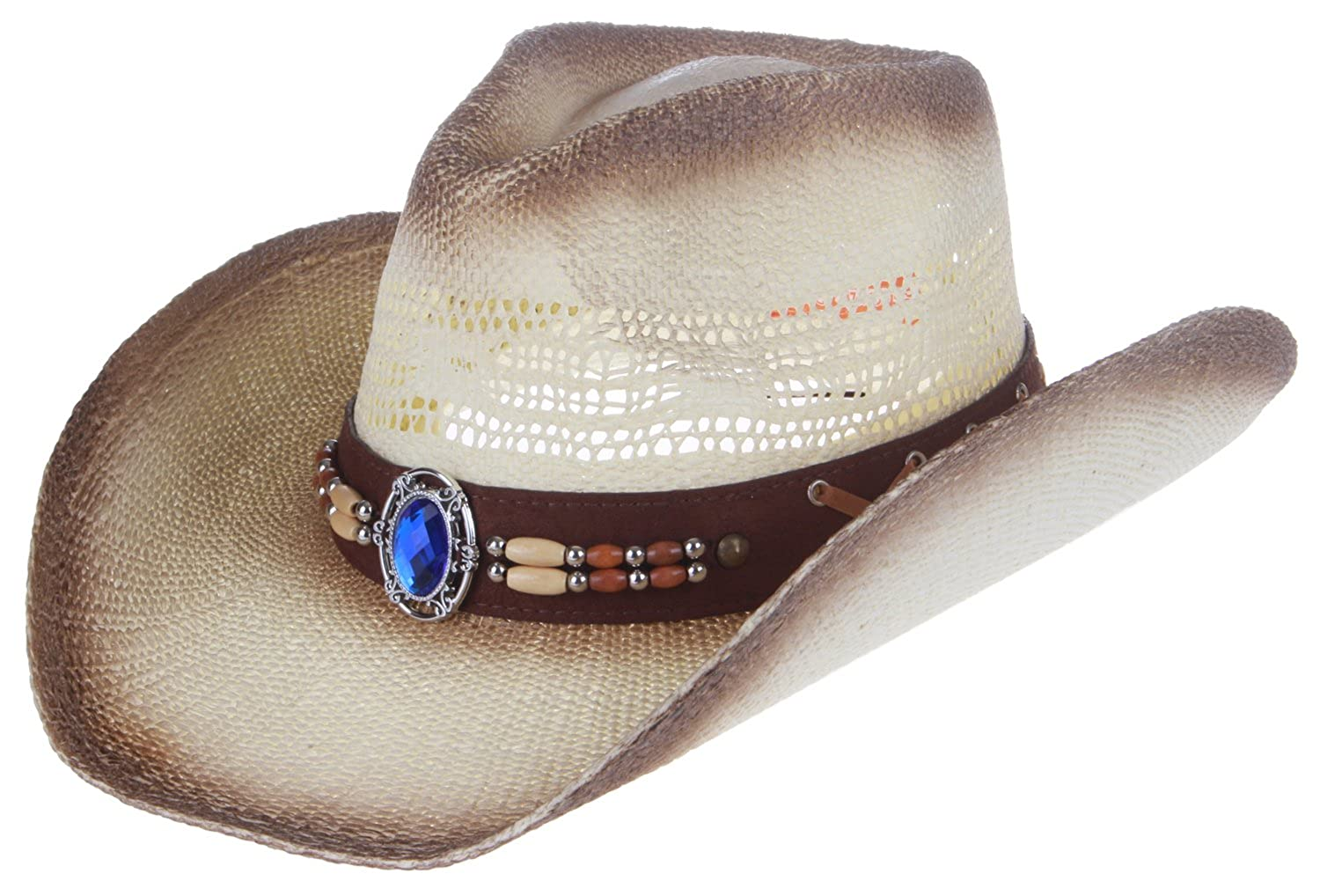 f53cf0d0ef542 Enimay Western Outback Cowboy Hat Men s Women s Style Straw Felt Canvas  Bead Blue One Size at Amazon Women s Clothing store