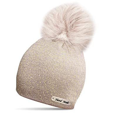 c0ef5ff18f0 TOSKATOK® Ladies Womens Girls Rockjock Hand Made Knit Glitter Winter Bobble  Beanie Hat with Faux Fur Pom Pom  Amazon.co.uk  Clothing