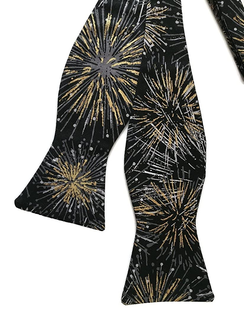 Self-tie Black Bow Tie Fireworks in Grey Silver and Metallic Gold