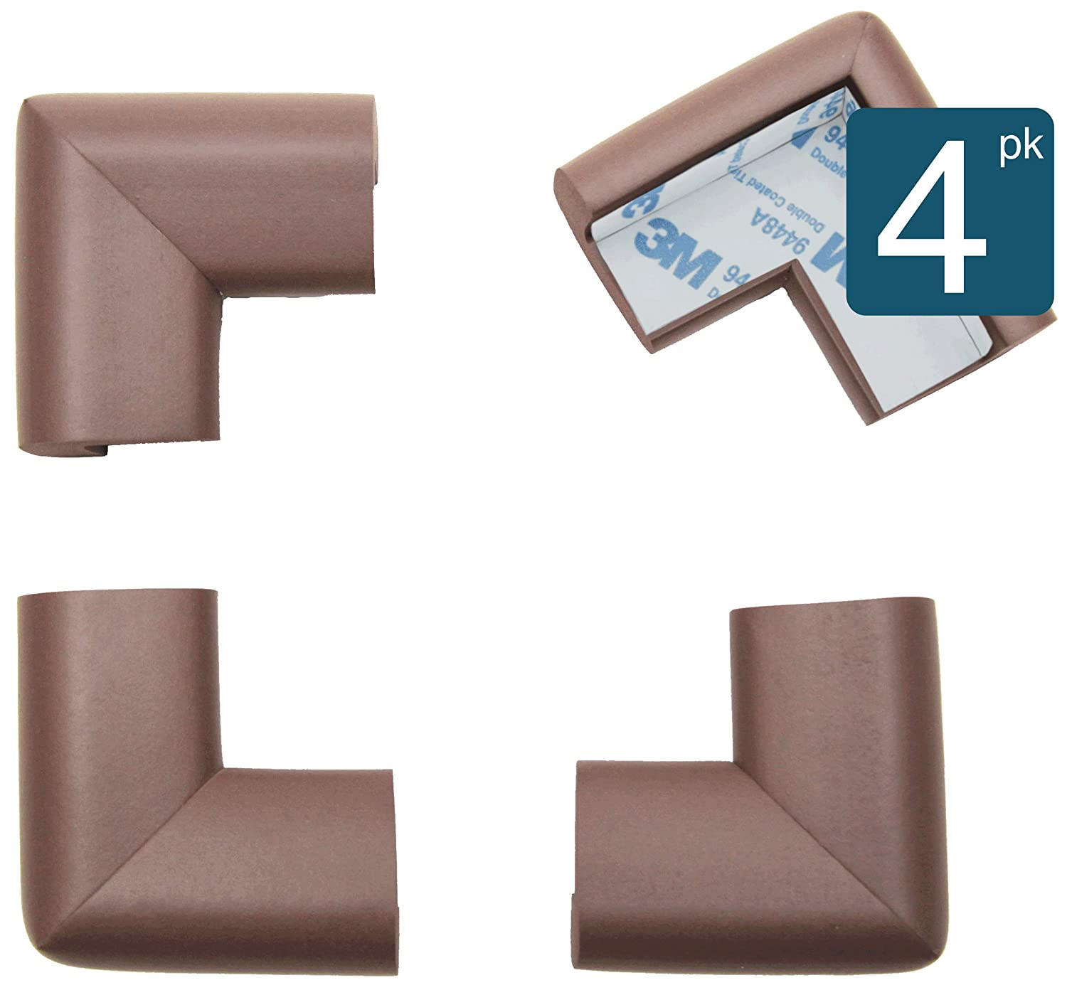 B00EBZCA1M Roving Cove Corner Protector | Soft Baby Proofing Table Corner Bumper Guard | Child Safety Furniture Fireplace Corner Edge Guards | Soft Foam | Safe Corner Cushion | Pre-Taped | 4-pcs Coffee (Brown) 71WR7T-IttL