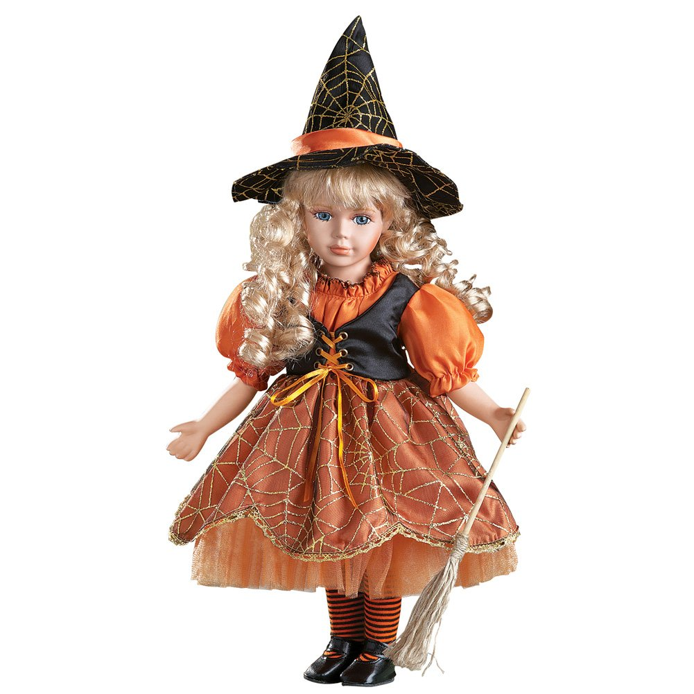 Women's Halloween Wendy Witch Costume Collectible Porcelain Doll 16''