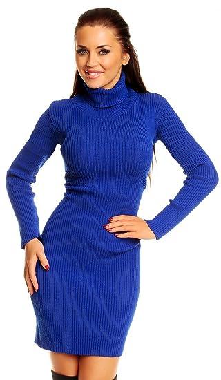 a90efbf8e4a Zeta Ville - Robe moulante en maille côtelée col roulé coupe ajustée femme  417z (Bleu Royal