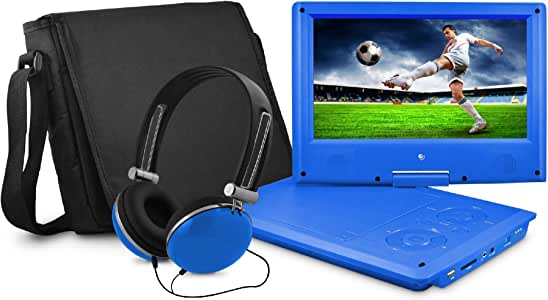 Ematic 9-Inch Swivel Portable DVD Player with Headphones and Bag - Blue (EPD909BU)