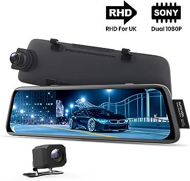 AUTO VOX V5 - Cámara de salpicadero para coche (1080P, visión nocturna, visión general, pantalla táctil completa de 9.35 pulgadas, retrovisor con cámara de marcha atrás, modo de aparcamiento, seguimiento por GPS):