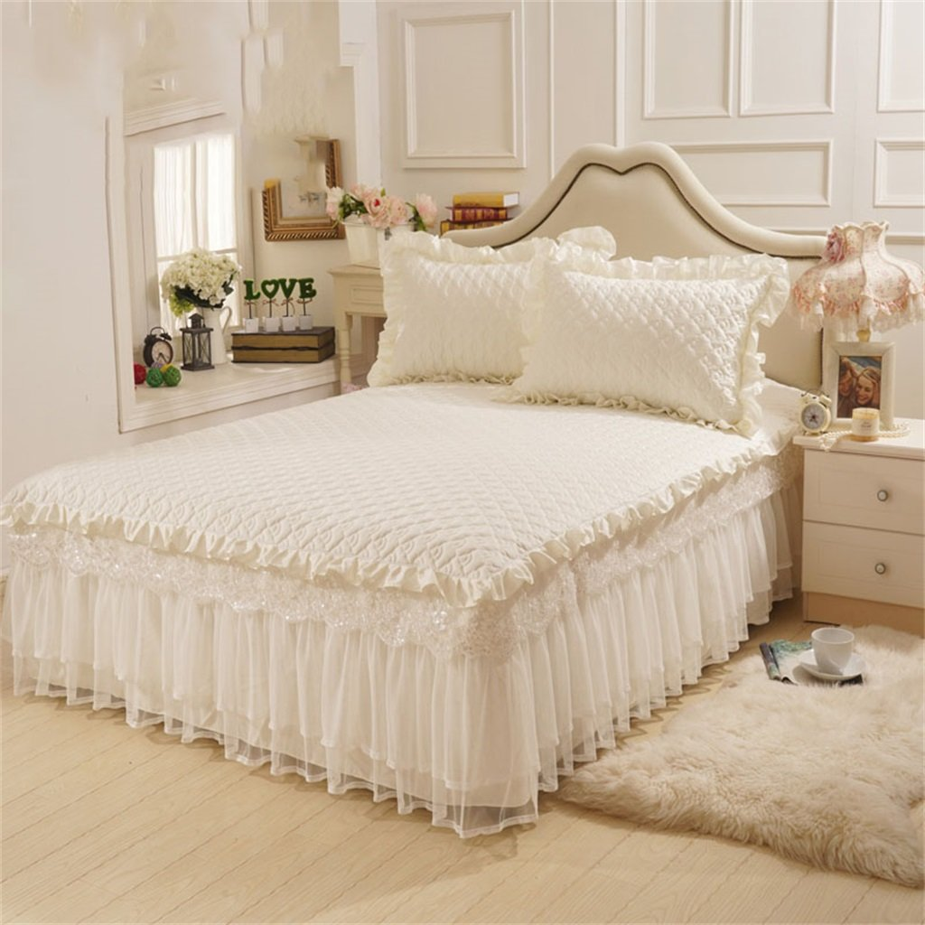 Lace Princess Bed Bedspread Bed Skirt Cotton Single European Style Bed Cover Sheets Pillowcase ( Color : #5 , Size : 150x200cm ) LHL-Bed skirt
