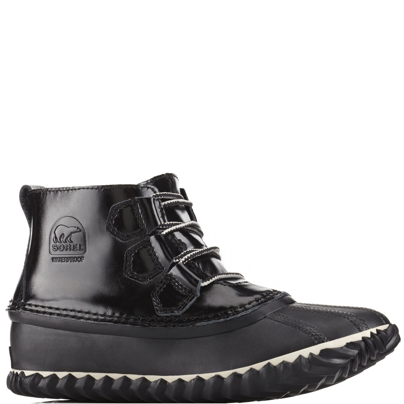 SOREL Women's Out N About Black/Noir Ankle-High Leather Rain Boot - 8M