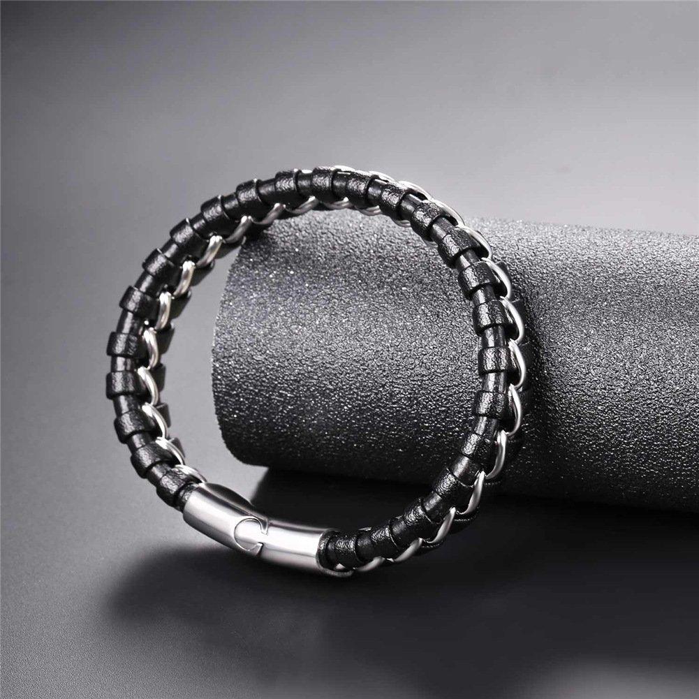 U7 Braided Leather Bracelet for Men Women Bangle Bracelets Fashion Magnetic Clasp 8.3 Inch 21CM