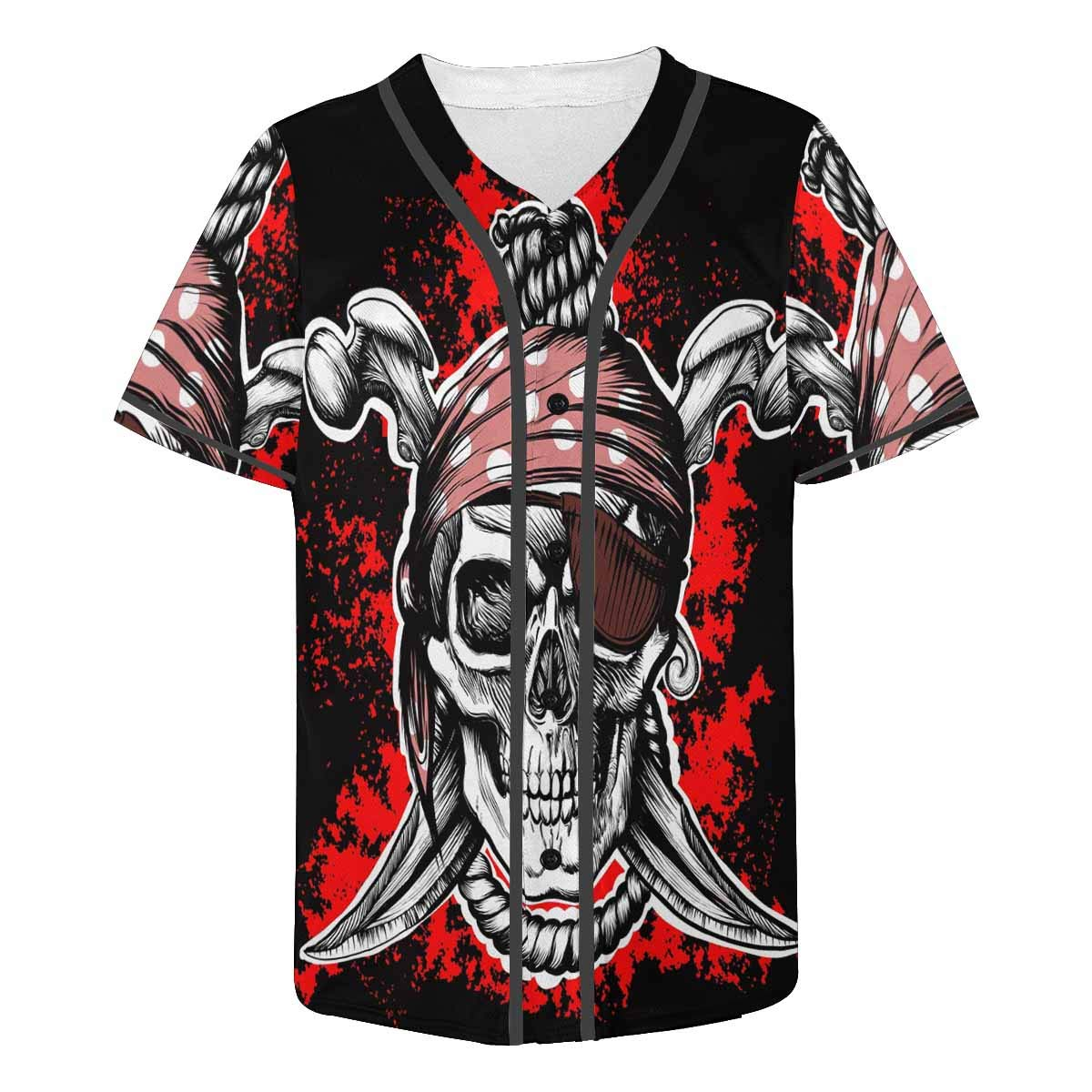 INTERESTPRINT Mens Button Down Baseball Jersey a Pirate Symbol with Crossed Daggers