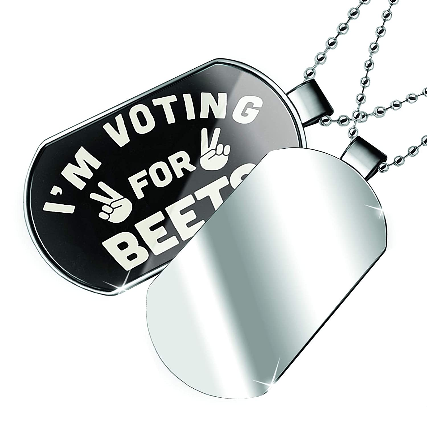NEONBLOND Personalized Name Engraved Im Voting for Beets Funny Saying Dogtag Necklace