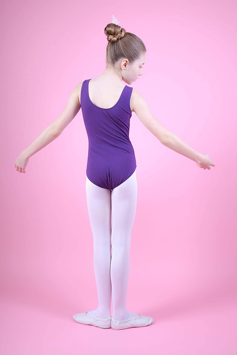 hot pink and purple tanzmuster girls ballet leotard Lissy white pink black light blue with wide straps made of soft and durable cotton blend