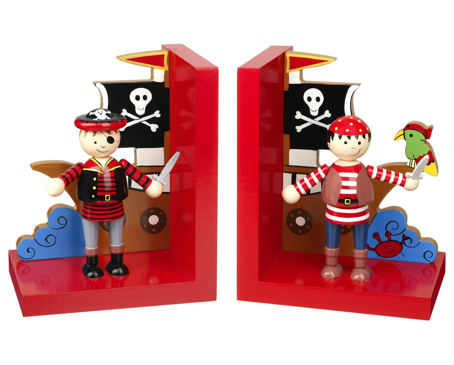 Set of Wooden Pirate Bookends Orange Tree Toys