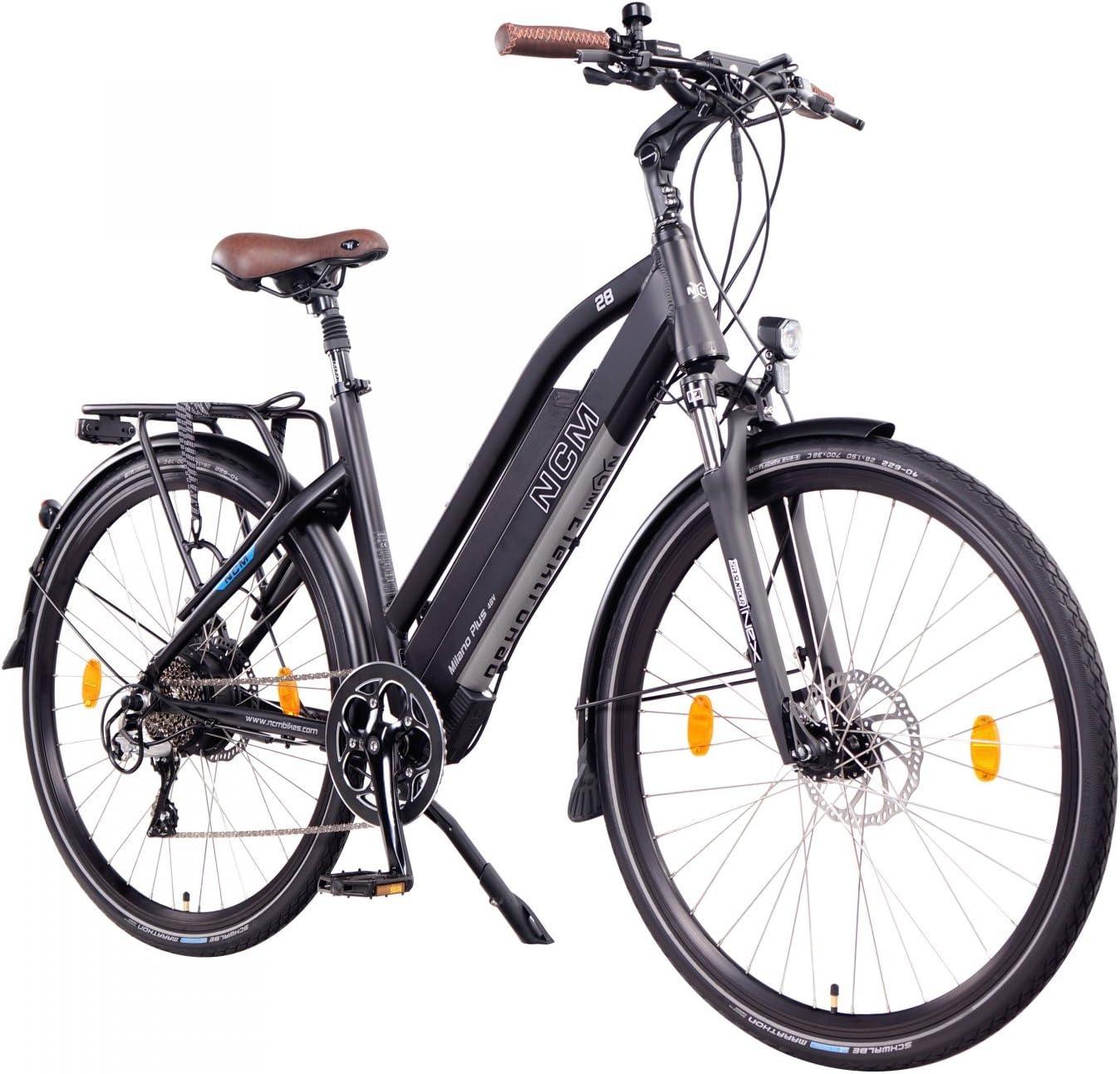 NCM Milano+ Bicicleta eléctrica urbana, 48V, 66 / 71cm, para hombre y mujer, 250W con el motor trasero, 14Ah 672WH batería Panasonic de ion de litio celdas, frenos hidráulicos, 8marchas.