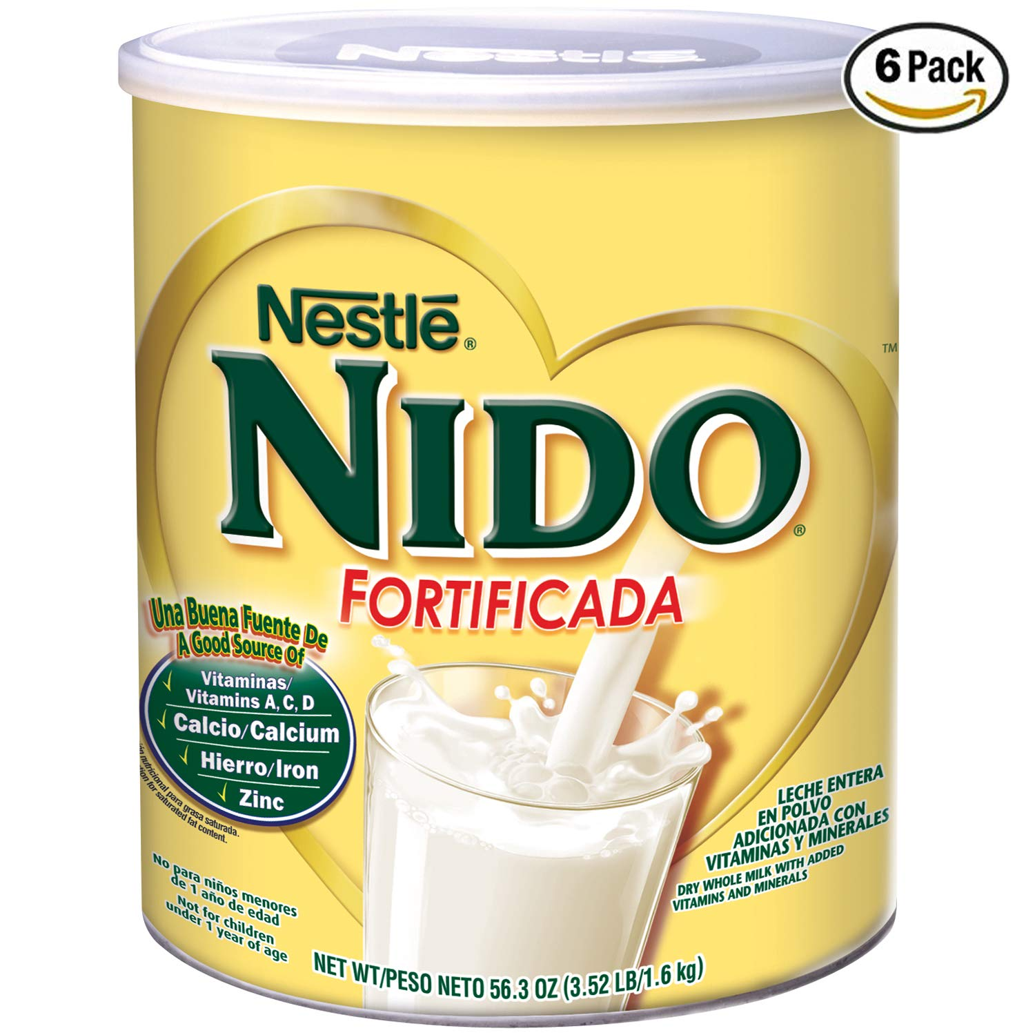 NESTLE NIDO Fortificada Dry Milk 56.3 Ounce. Canister (6 Pack)