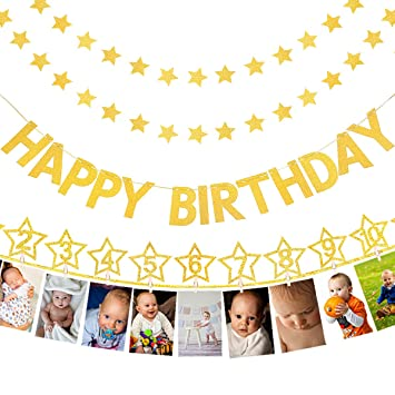 Gold 1st First Birthday Party Supplies One Year Old Decorations Milestone Photo Banner Star Happy