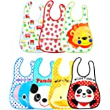 7 Pcs Unisex Baberos Impermeables Para Bebe Niña Niño Dibujos Animados Baberos Bebe Guarderia Multicolor Baberos