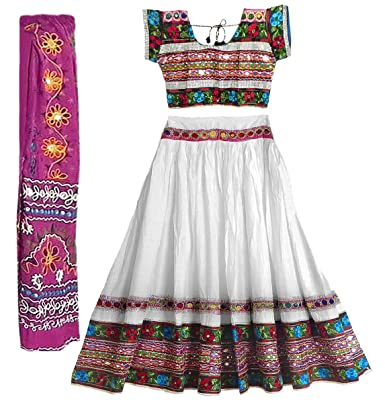 DollsofIndia Multicolor Embroidery on White Cotton Lehenga Choli with Magenta Dupatta and Elaborate Sequin Work - Cotton - White Ethnic Wear at amazon