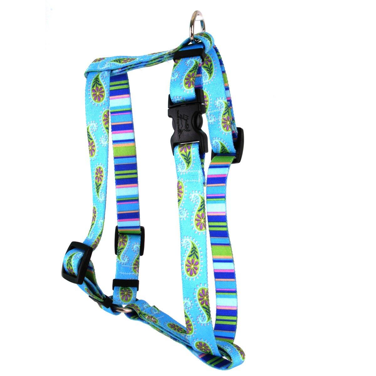 Large 20\ Yellow Dog Design bluee Paisley Roman Style H  Dog Harness, Large