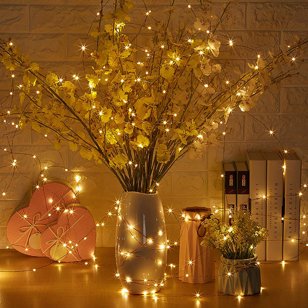 Fairy Lights,2 Pack Led Fairy Lights with 100 LEDs 33ft Waterproof Battery Operated 8 Modes and Remote Control Warm White Copper Wire Fairy String Lights for Festival Bedroom Wedding Party Patio