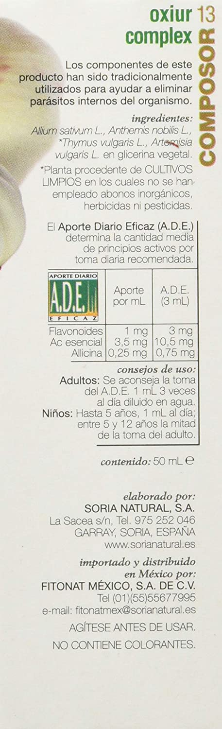 Soria Natural Composor 13 Oxiur Complex-Lombrisor - 50 ml: Amazon.es: Salud y cuidado personal