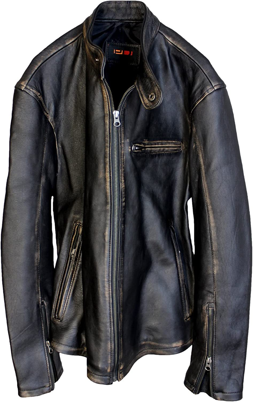 PDCollection Mens R79 Leather Jacket Vintage Cafe Racer New Distressed Black