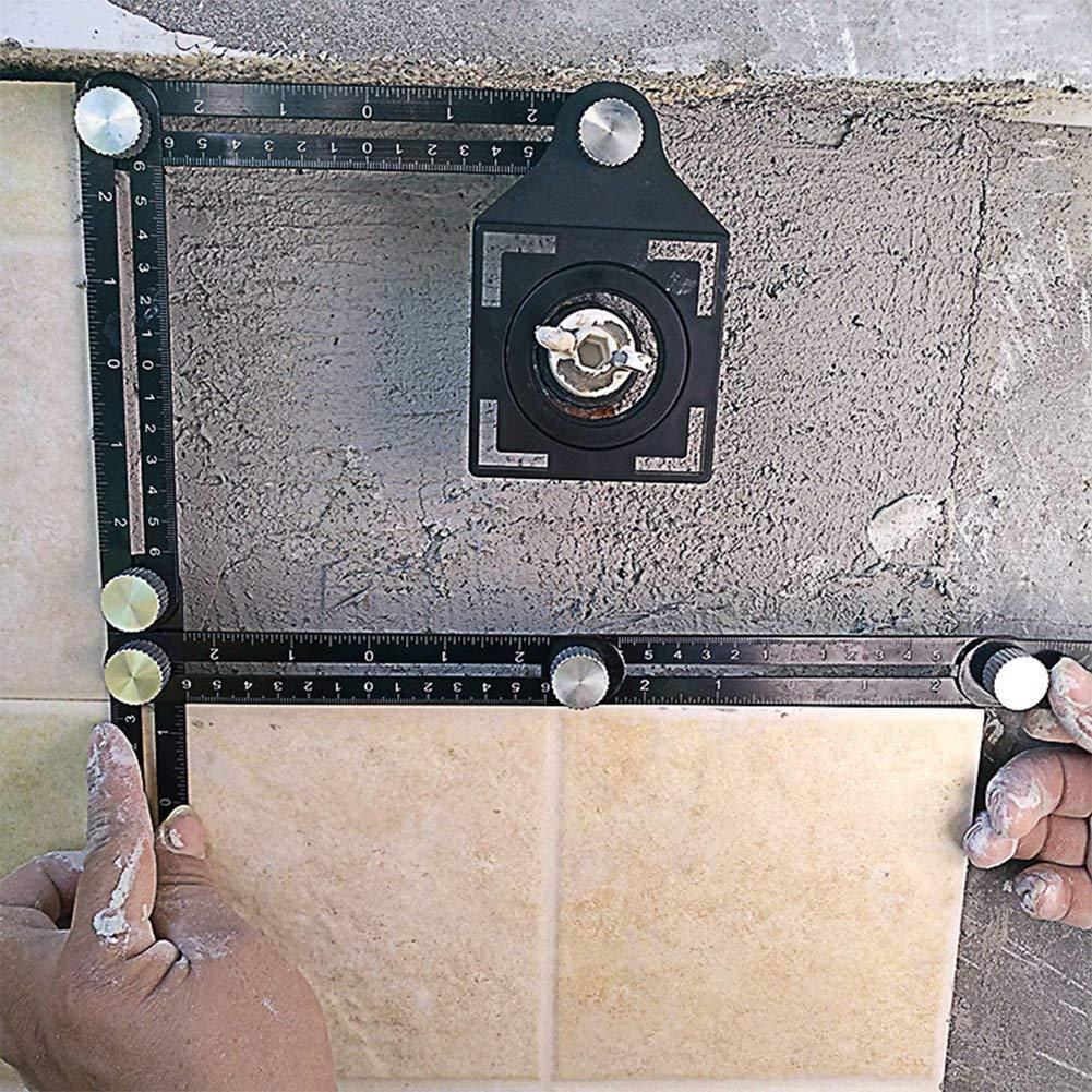 Outil de mesure multi-angle en m/étal R/ègle multifonction R/ègle angulaire universelle de mise /à niveau 6 c/ôt/és noir En alliage daluminium Outil dangle ultime