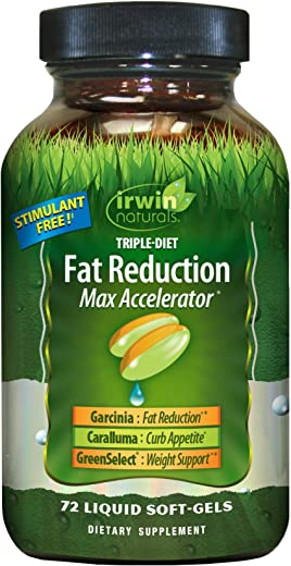 Irwin Naturals Triple-Diet Fat Reduction Max Accelerator - Stimulant Free Healthy Weight Management Supplement - 72 Liquid Softgels