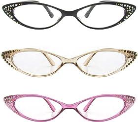 4e7a4ee60ec Rhinestone Colorful Cat Eye Reading Glasses Set of 3