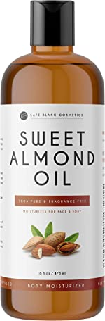 Sweet Almond Oil 16oz by Kate Blanc. 100% Pure, Cold Pressed,