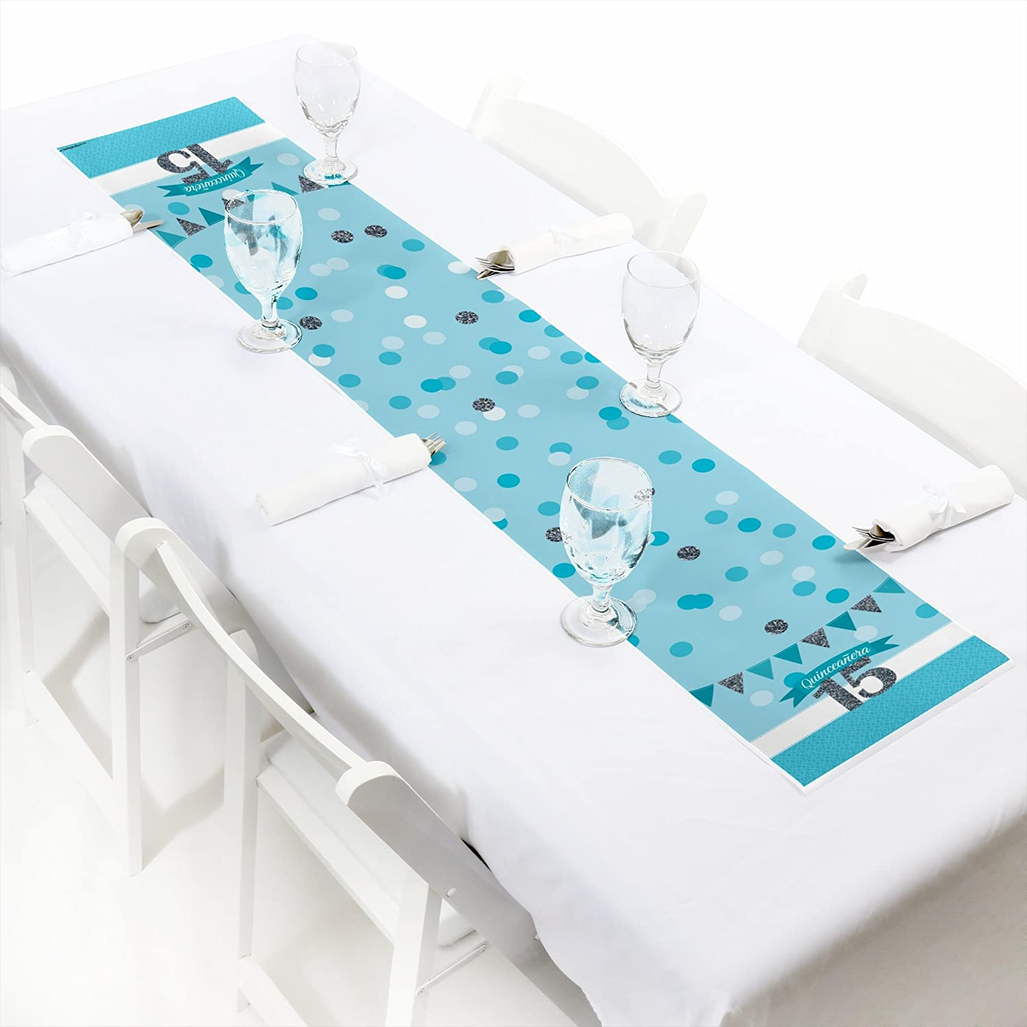 Big Dot of Happiness Quinceanera Teal Sweet 15 Petite Birthday Party Paper Table Runner 12 x 60
