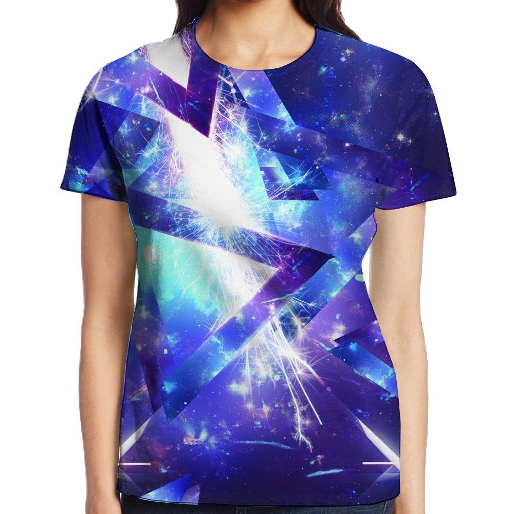 XIA WUEY Abstract Geometry Women Funky Graphic Tee Crew Neck T-Shirt by XIA WUEY