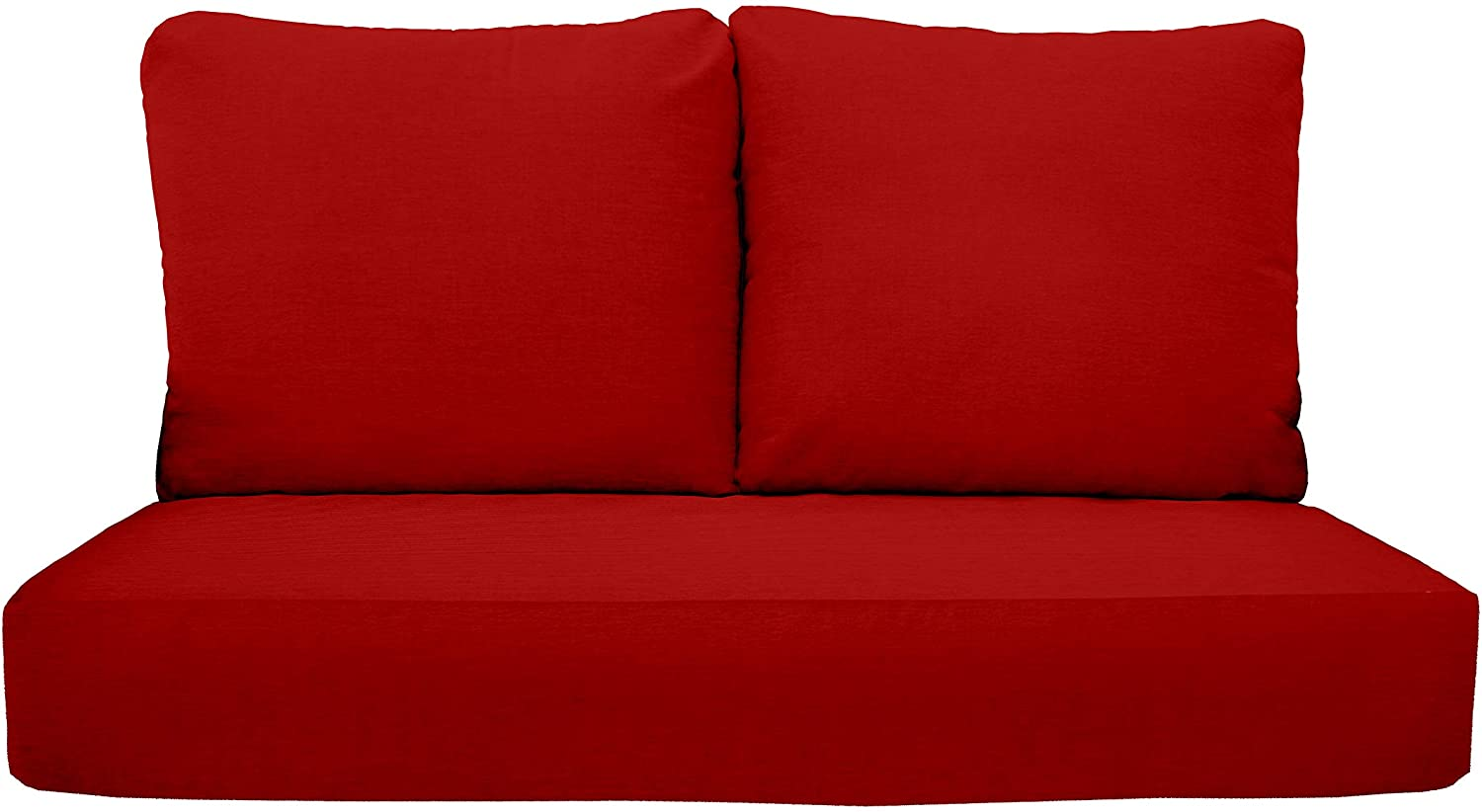"""RSH Décor Indoor Outdoor Deep Seating Loveseat Cushion Set, 1- 46"""" x 26"""" x 5"""" Seat and 2- 25"""" x 21"""" Backs, Choose Color (Red)"""