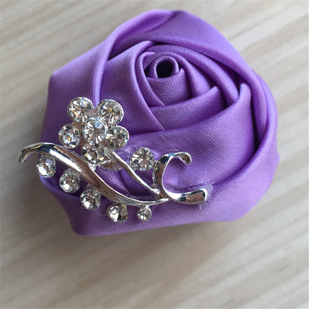 USIX 2pc Pack-Handmade Men's Women's Multi Solid Color Satin Flower Rose Crystal Rhinestone Boutonniere Brooch Pin for Suits Dresses Scarf Decoration Accessories Jewelry(Dark Blue)