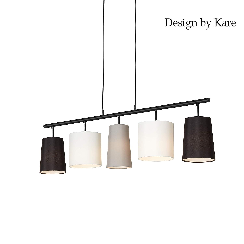 Briloner Leuchten Lampe suspension 5 ampoules E14 en tissu Noir blanc gris