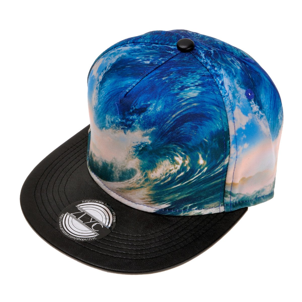 c07c0182784 ZLYC New Fashion High Quality Landscape Palm Wave Temple Digital Print Hat  Adjust Baseball Snapback Cap(Blue)  Amazon.co.uk  Clothing